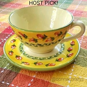 Vintage Hand Painted Cup & Saucer from France